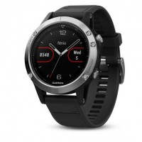 Спортивные часы Garmin fenix 5 Black Sapphire with Black Band Silver (010-01688-03)